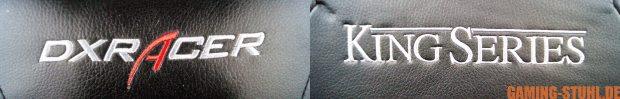 DXRacer sowie King Series Logo des getesteten Modells.