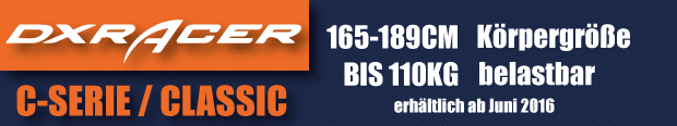 Die DXRacer Classic Series ist für Gamer von 165-189cm geeignet.