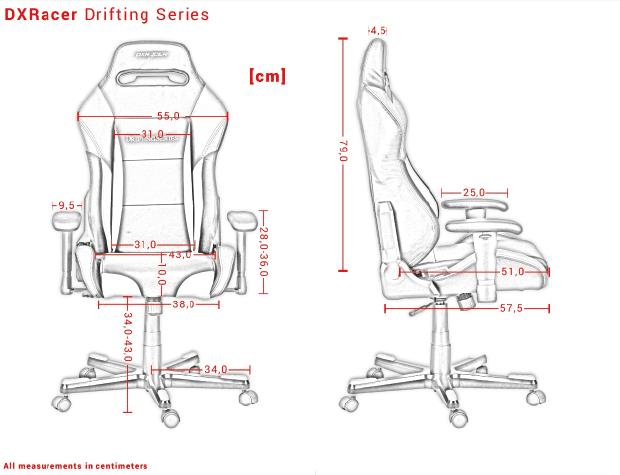 Die Produktabmessungen für die D-Serie von DXRacer.