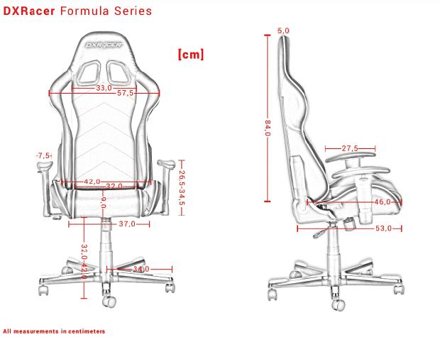 Die Maße der Formula Series von DXRacer.