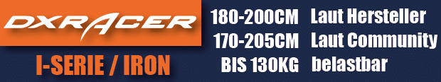 Die DXRacer Iron Series ist bis 130 kg belastbar aber für viele Größen geeignet.