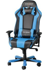 Gamer Stuhl in blauschwarzem Design.