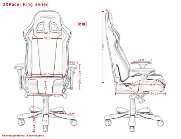 Die Produktabmessungen der DXRacer King Serie.