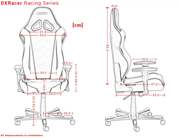 Das sind die Maße für die R Serie von DXRacer.
