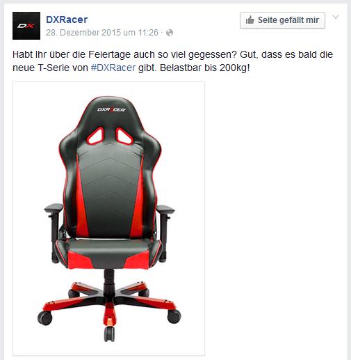 Screenshot des Facebook-Posts zur DXRacer T-Serie.