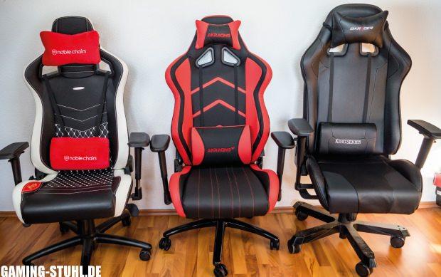 Vergleich von drei Gaming-Stühlen aus verschiedenen Tests.