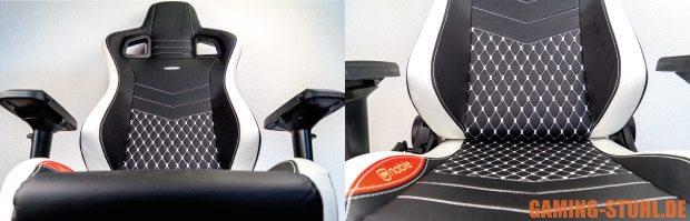 Der Stuhl aus dem EPIC-Test ohne Kissen mit Ziernähten im Fokus.