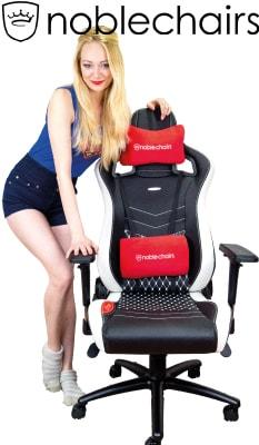 Blonde Frau, Echtleder Gaming-Stuhl und noblechairs Logo