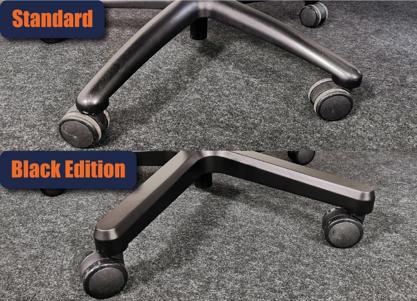 Fußkreuz Stahl vs Aluminium pulverbeschichtet