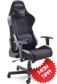 Der Zocker Stuhl in schwarz aus der F serie mit Stoffbezug getestet.