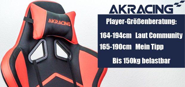 Größenberatung zur AKRacing Player Serie: geeignet für 165cm bis 190cm, belastbar bis 150kg.