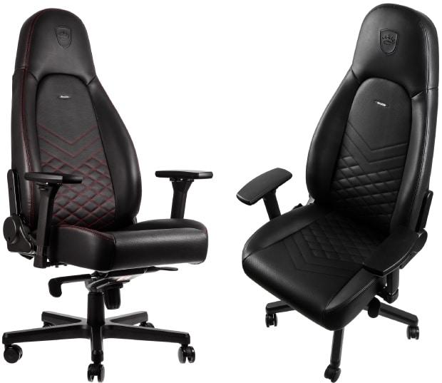 Der Icon Stuhl in zwei verschiedenen Farbvarianten, rot und schwarz.