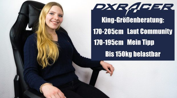 Die Größenberatung zur King Series: geeignet auch für große und schwere Gamer.