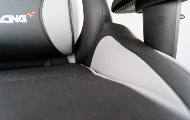 Der Kunstlederbezug auf Sitzfläche und Sitzwangen des getesteten Stuhls.