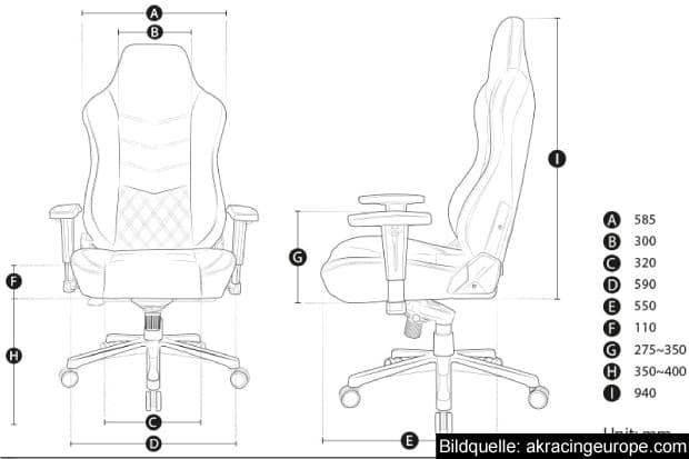 Maße des Onyx Gaming Chairs