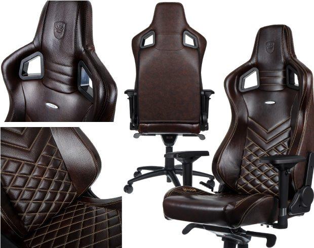 Fotos des seriösen noblechairs Gaming-Stuhls in braun/beige für Meeting-Räume und Co.