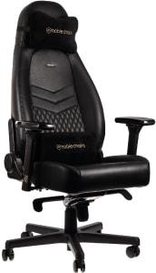 Der noblechairs ICON Gaming Stuhl in schwarz von der Seite.