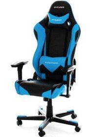 DXRacer R-Serie in blau mit Kunstleder-Bezug.