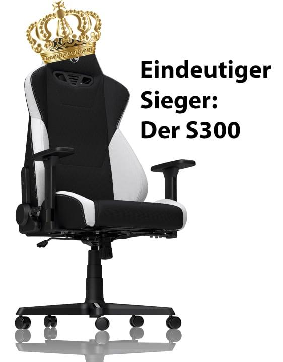 S300 ist Testsieger im Vergleich mit dem Racer auf Gaming-Stuhl.de