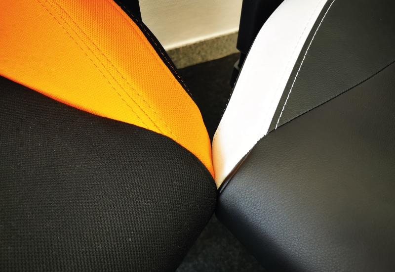 Sitzfläche in Stoff und PU: Nahaufnahme