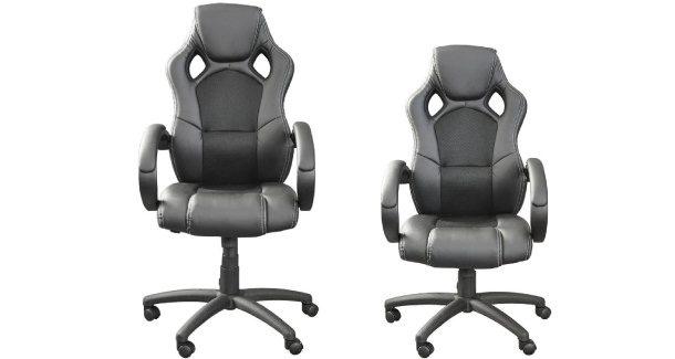Links der Stuhl auf höchster Einstellung des Gaslifts, links die niedrigste Einstellung.