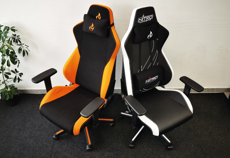 Stoff und PU-Version des getestetetn S300 in schwarz/weiß und orange/schwarz