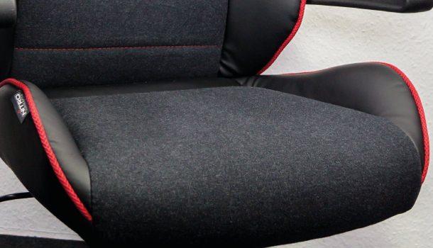 Der Bezug des Nitro Concepts Stuhl ist aus Stoff - Erfahrungsgemäß eine gute Wahl.
