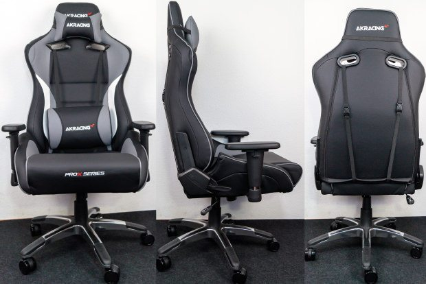 Der Stuhl von vorne, von der Seite und von hinten.
