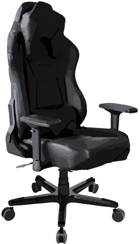 Zeichnung von einem PC Gamer Stuhl in den Farben schwarz und orange.